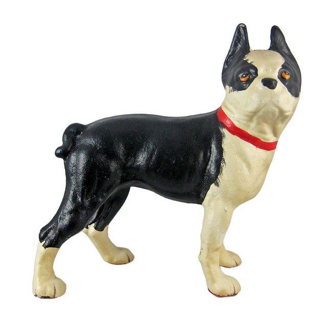 Cast Iron Boston Terrier Dog Statue Hand Painted Statues