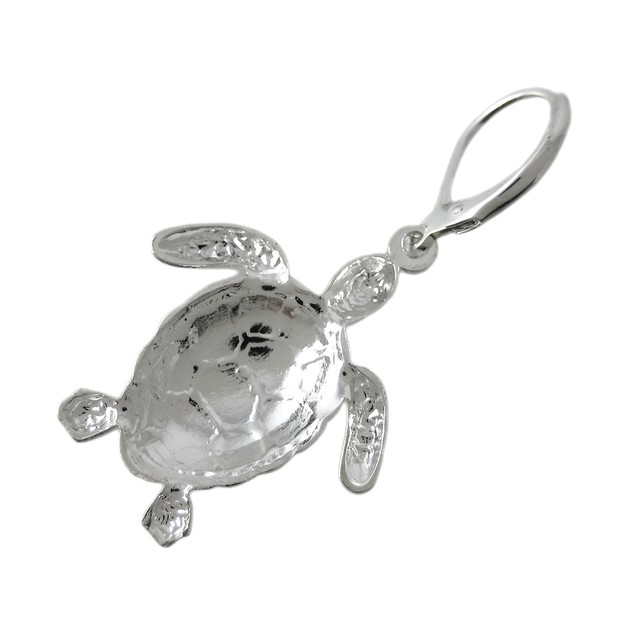 Chrome Plated Sea Turtle Pin / Pendant Earrings Womens Earring And Necklace