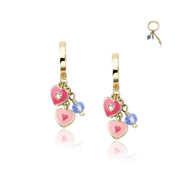 18KGP Dangling 2 Hearts & a Bead Enameled Huggie Children's Earrings