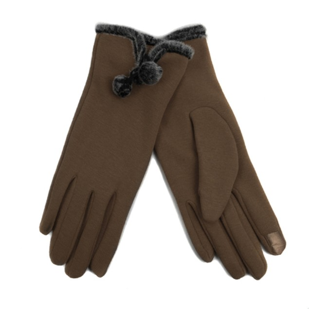 2-Pack Women's Stylish Touch Screen Gloves with Fur Trim & Fleece Lining