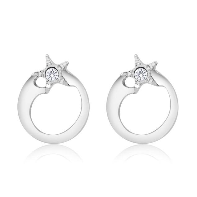 Cubic Zirconia Star Round Earrings