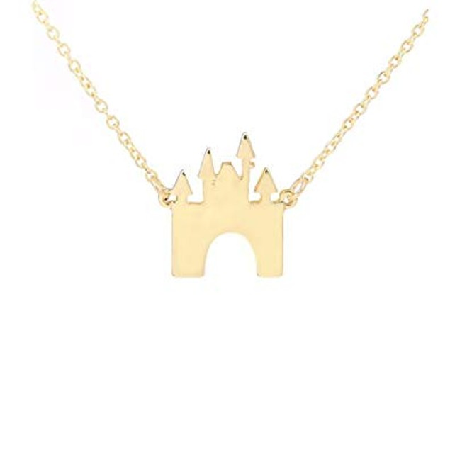 Gold Plated Castle Necklace-Gold