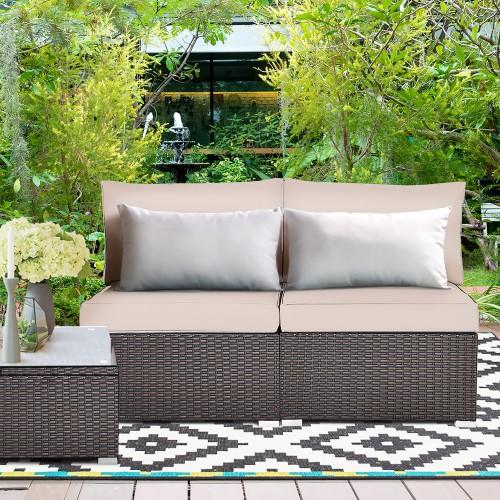 2PCS Patio Rattan Armless Sofa Sectional Conversation Furniture Set  W/Cush
