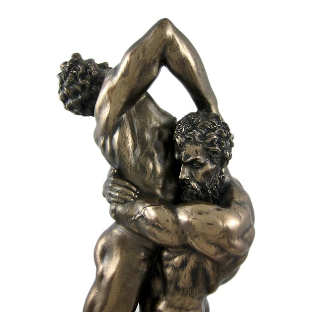Hercules And Anteus Bronze Finish Statue Greek Statues
