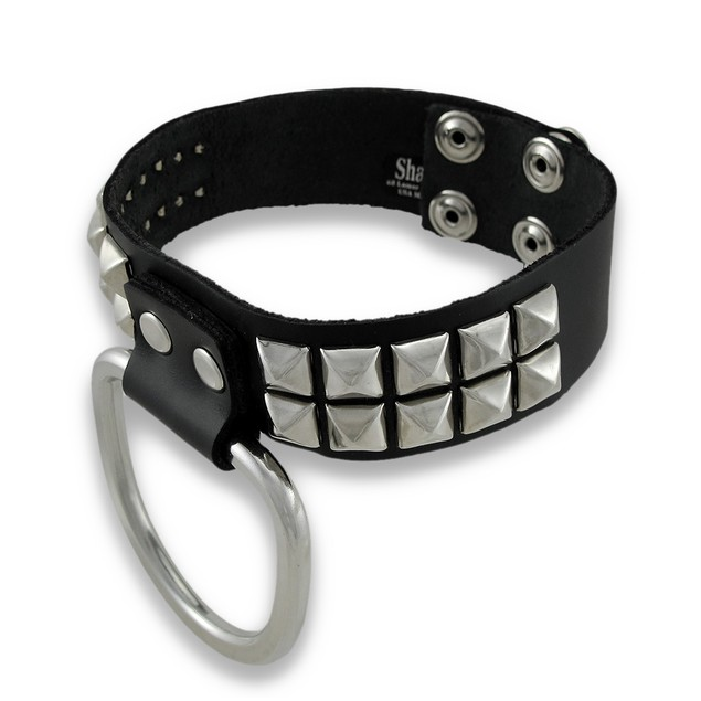 Black Leather Studded D Ring Choker Collar Sub Mens Collar Necklaces