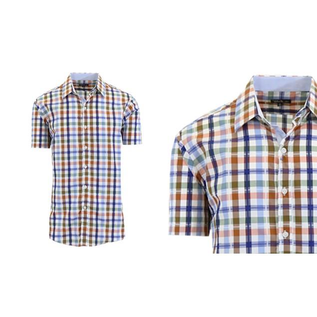 Men's Short Sleeve Plaid Dress Shirts