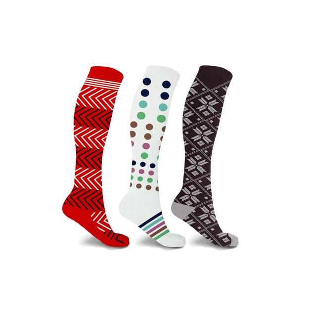 3-Pair Compression Socks Patterned