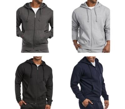 3-Pack Men's Fleece Cotton-Blend Full Zip Up Hoodies Was: $129.99 Now: $34.99.