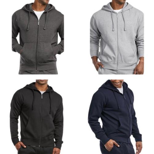 3-Pack Men's Fleece Cotton-Blend Full Zip Up Hoodies