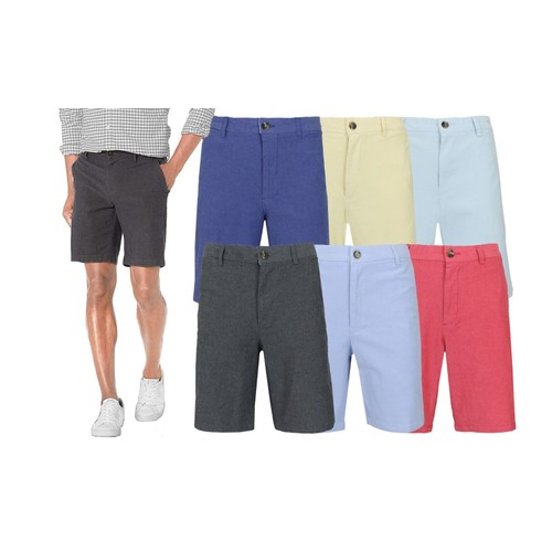 Men's Flat-Front Cotton Stretch Oxford Chino Shorts (Sizes, 30-42)