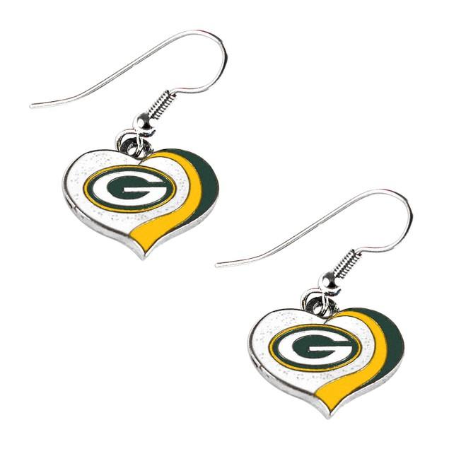 NFL Sports Team Logo Glitter Heart Earring Swirl Charm Set