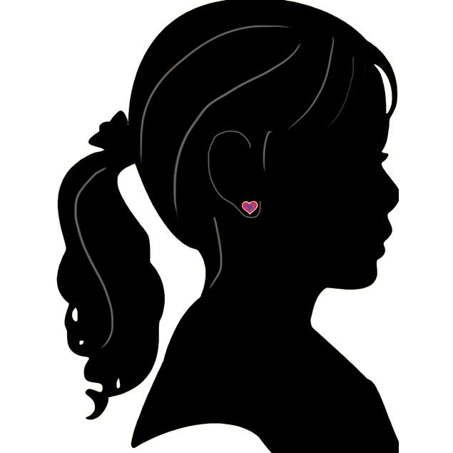 18KGP Hot & Light Pink Enameled Hearts Children's Post Earrings