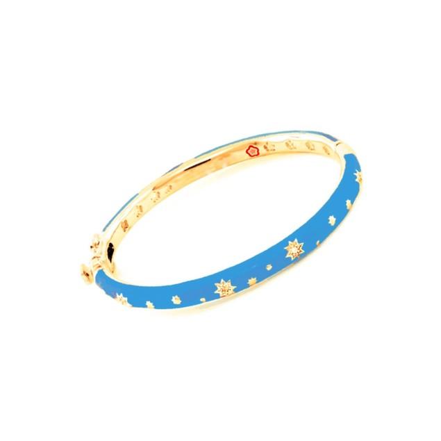 18KGP Blue Enameled Bangle W/Cubic Zirconia Star Children's Bangle Bracelets