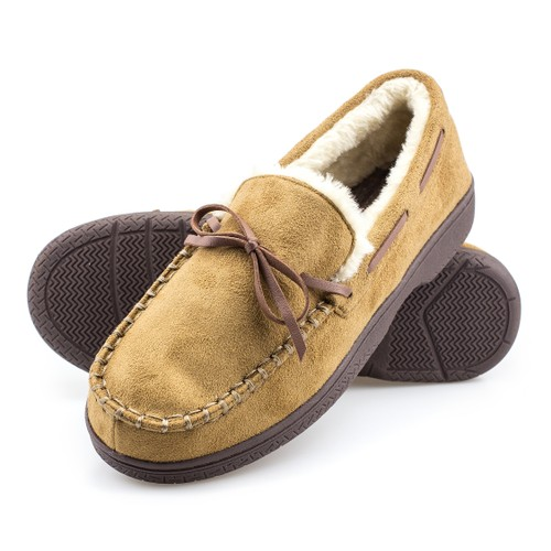 Men's Memory Foam Durable Comfortable Slip On Moccasin Slippers
