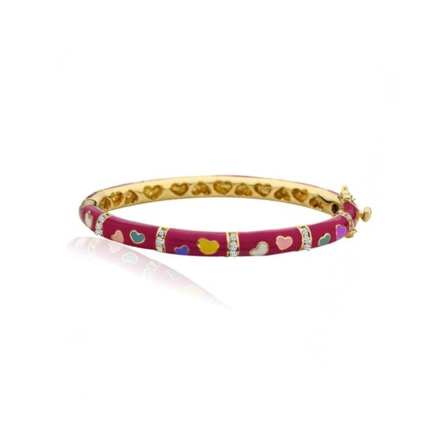 18KGP Burgundy Enameled Colored Hearts & Cubic Zirconia Children's Bangle Bracelet