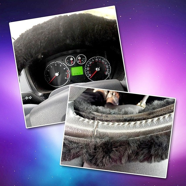 Zone Tech Black Plush Genuine Sheepskin  Car Steering Wheel Cover