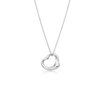 0.925 Sterling Silver High Polished Organic Open Heart Pendant With 18
