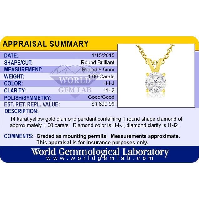 14k Yellow Gold 1 Carat Genuine Diamond Solitaire Necklace