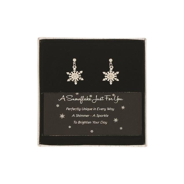 Sterling Silver & Crystal Snowflake Earrings