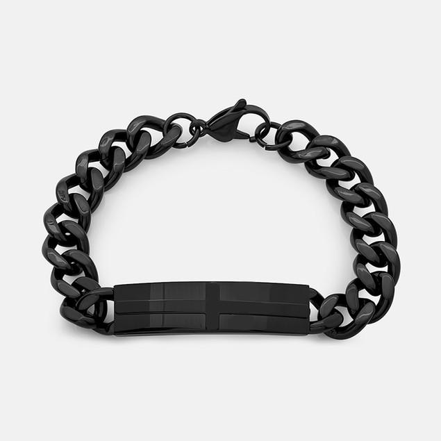 Men's Black IP Cross ID Bracelet