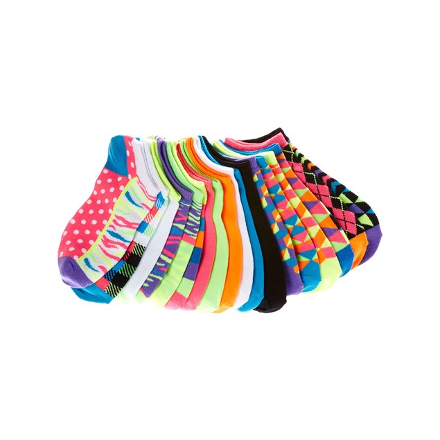 21 Pairs: Assorted Everlast Color No-Show Sock