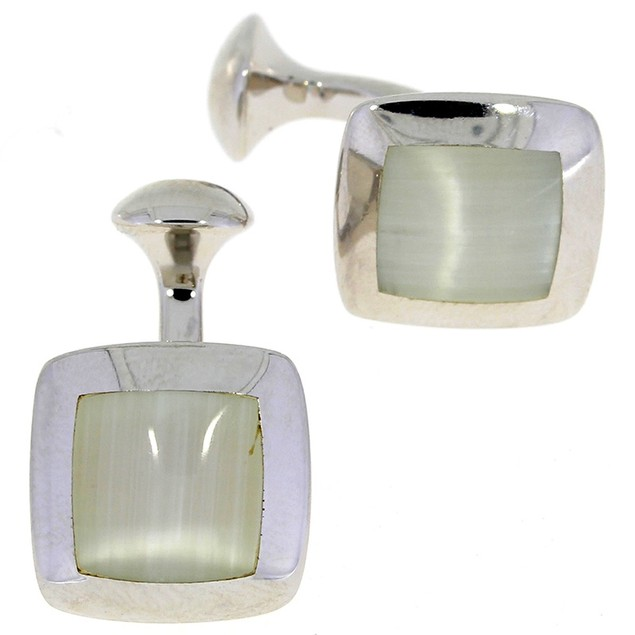 White Onyx Sterling Silver Cufflinks
