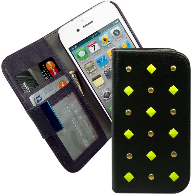 Studded Wallet Folio Case for iPhone