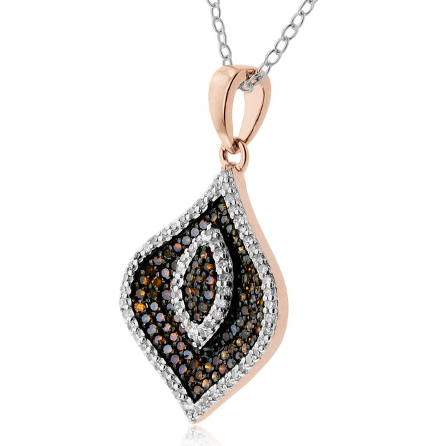 1/2ct Champagne and White Diamond Swirl Necklace In 14 Karat Rose Gold
