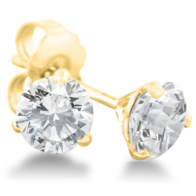 Certified Diamond & Gold Martini Stud Earrings