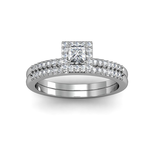 1/2 Carat Pave Princess Shape Diamond Bridal Set