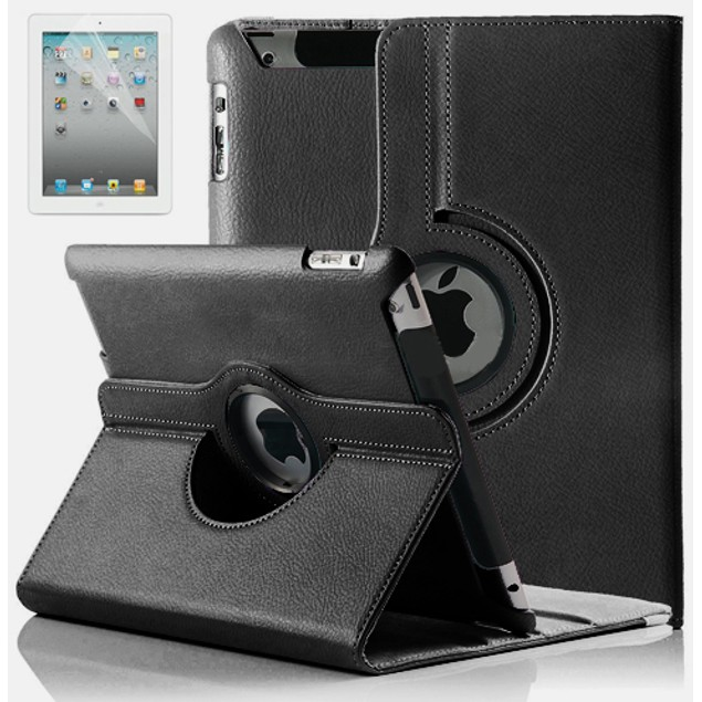 Leather iPad 2/3/4 Case w/ 360° Swivel Stand