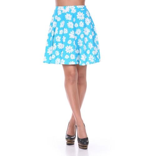 Light Blue & White Flower Print Skater Skirt