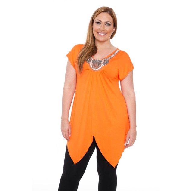 Women's Plus-Size 'Fenella' Embellished V-neck Top