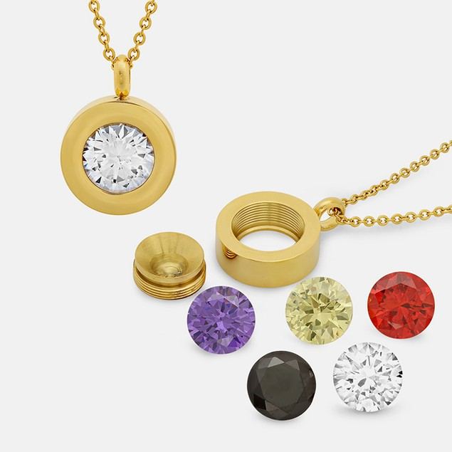 18k Gold Plated Interchangeable Round Pendant