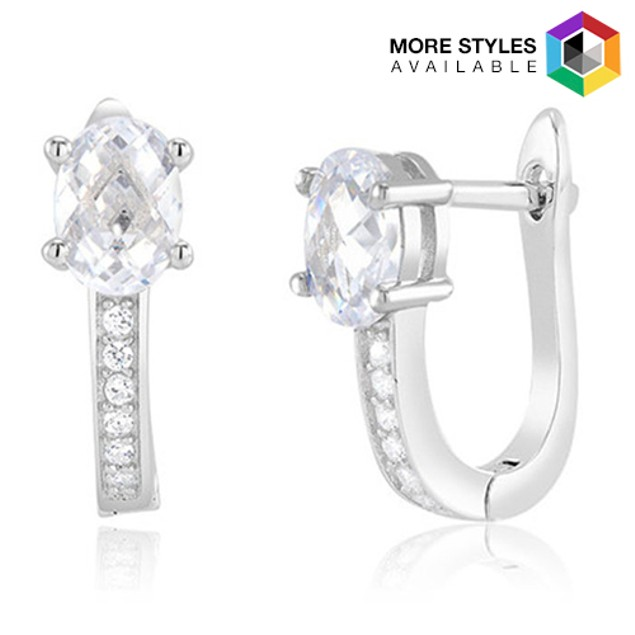 Sterling Silver Simulated Diamond Fancy Hoops - Lined