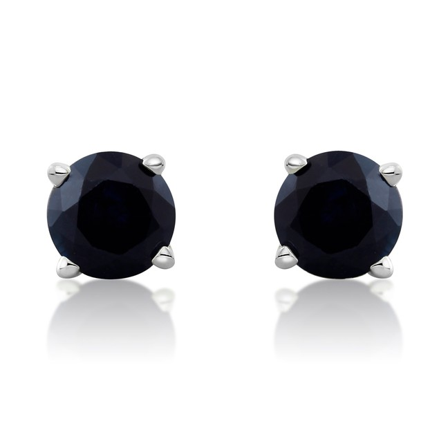 14k White Gold & 0.60ct Blue Sapphire Stud Earrings