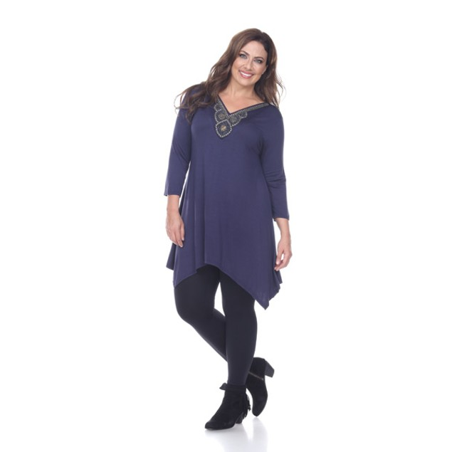 White Mark Plus Size Glimmering Embellished Tunic - Luna