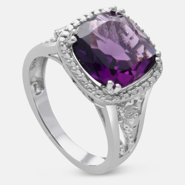 5ct Cushion Cut Halo Style Amethyst Ring