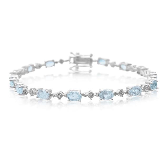 Blue Topaz and Diamond Bracelet 7.51cttw