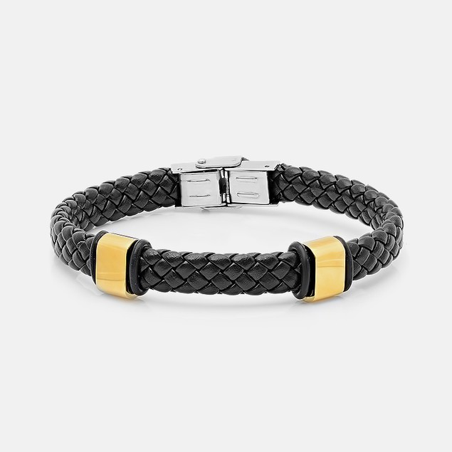 Black Braided Leather Bracelet with Gold Accents