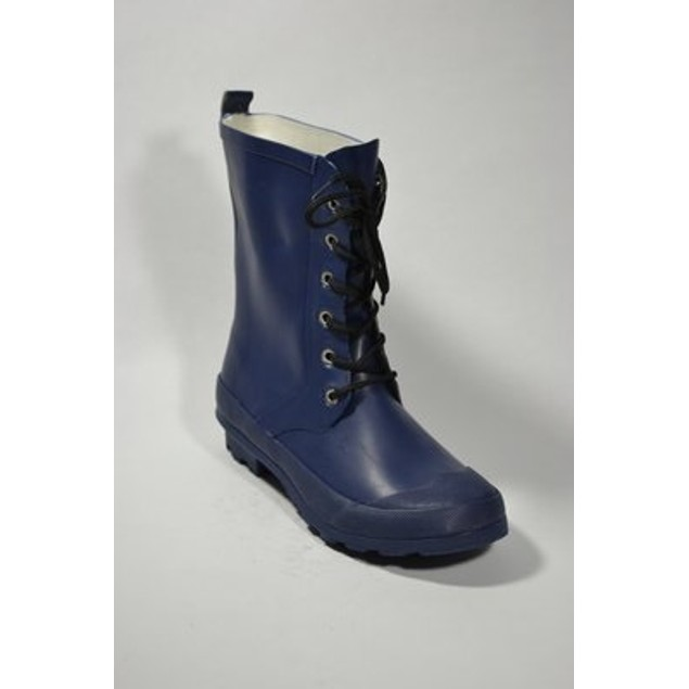 Classic Lace Up Rubber Rain Boots - Navy