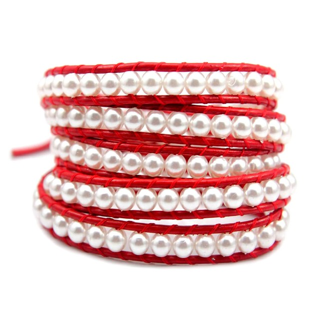 White Pearl on Red Leather Wrap Bracelet
