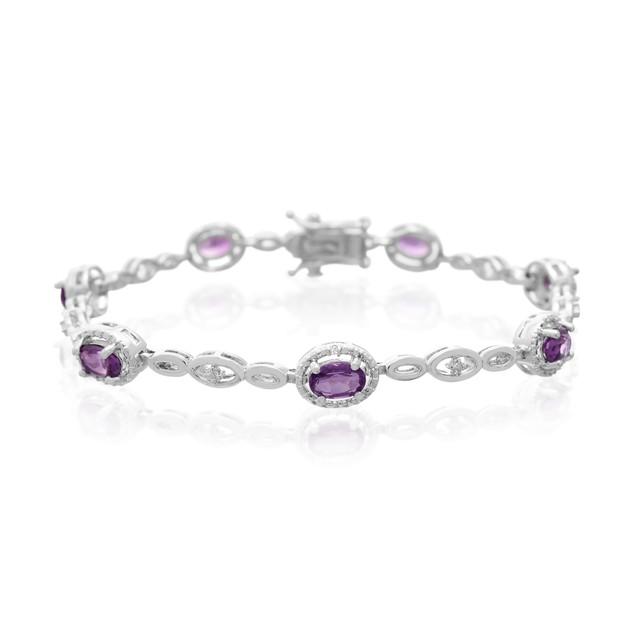 Amethyst and Halo Diamond Bracelet