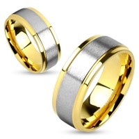 Two Tone Soft Brushed Metal Center Step Edge Gold IP