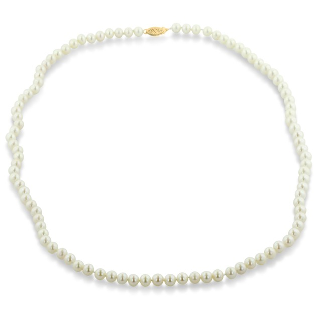 14k White Gold Clasp AA Hand Knotted Pearl Necklace - 6mm