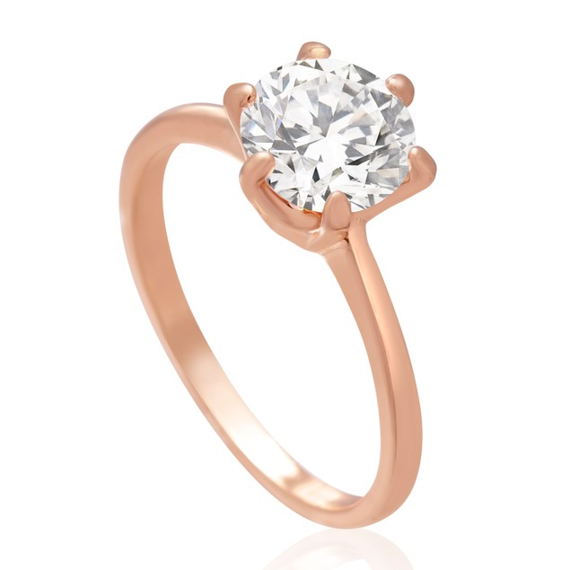 1 1/2 Carat 6 Prong Simulated Diamond Engagement Ring, Rose Gold Overlay