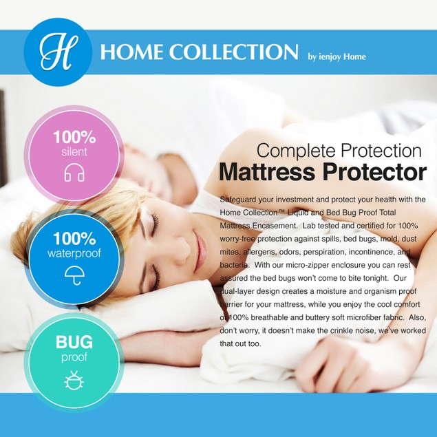 Home Collection 6-Sided Zippered Bed Bug Mattress Protector
