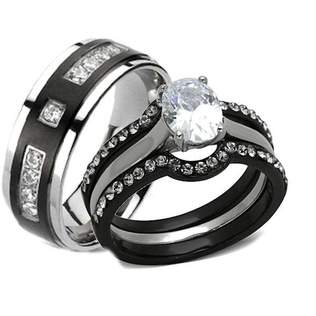His Hers 4 Piece Black Stainless Steel Wedding Engagement Ring Set