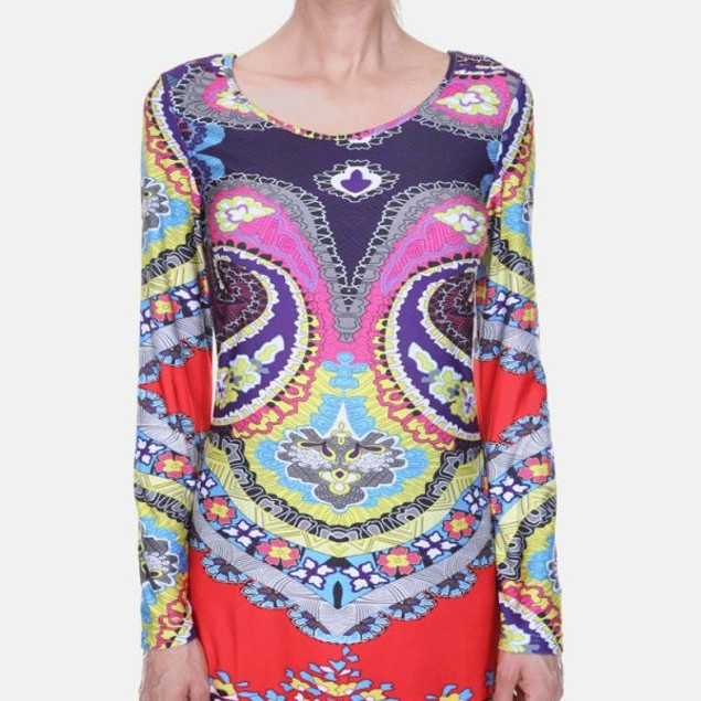 Abigail Red Multi-Color Print Dress