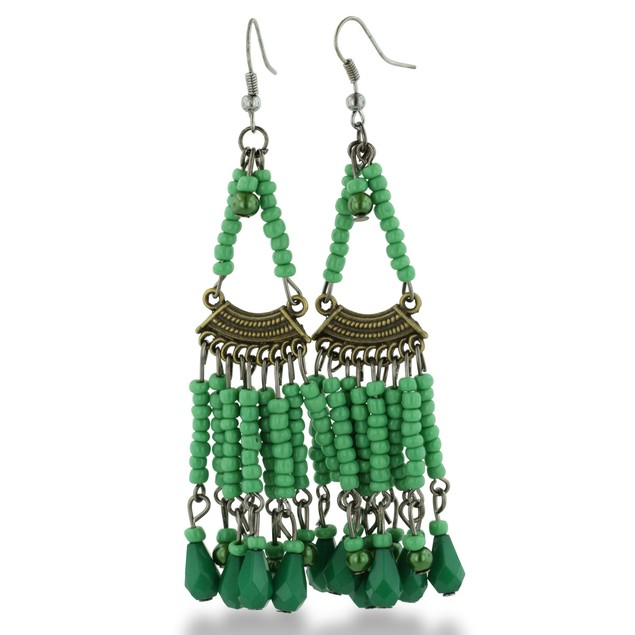 Chandelier Dangle Earrings with Green Beads